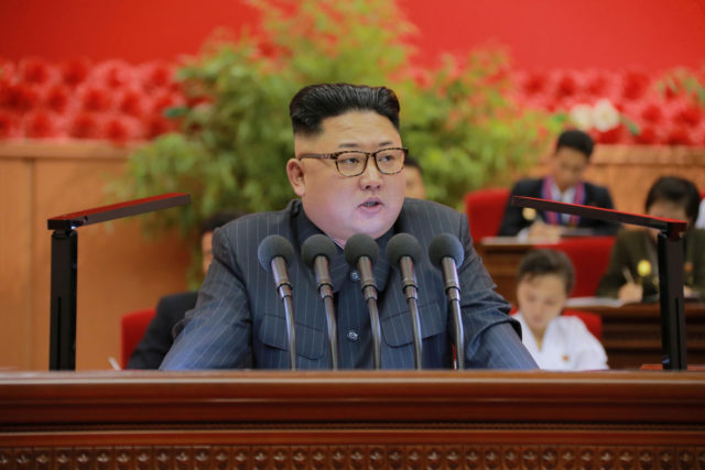 North Korean leader Kim Jong Un gives a speech at the 9th Congress of the Kim Il Sung Socialist Youth League in this undated photo released by North Korea's Korean Central News Agency (KCNA) in Pyongyang on August 29, 2016. (KCNA/ via Reuters)