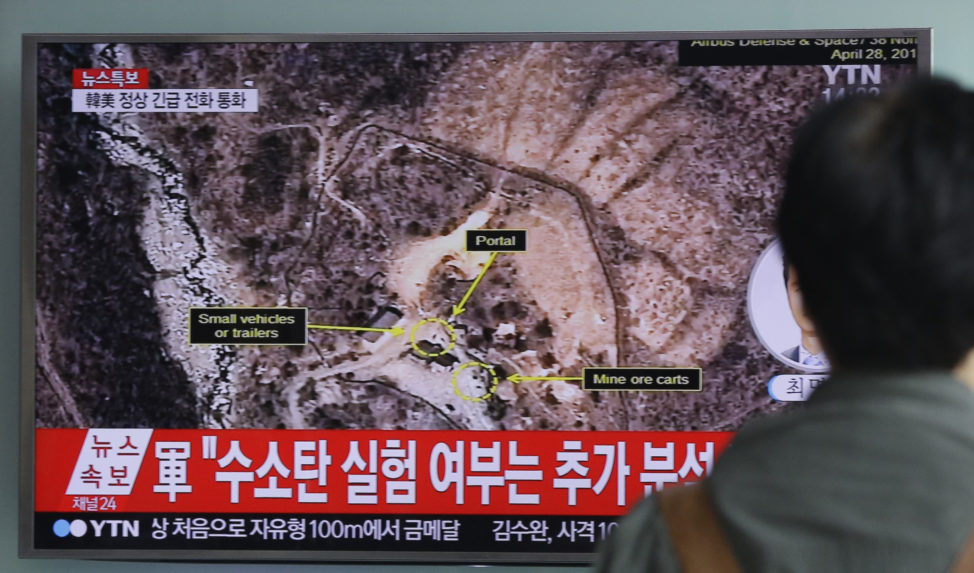 "A man watches a TV news program reporting North Korea's nuclear test at Seoul Railway Station in Seoul, South Korea, Friday, Sept. 9, 2016. North Korea said Friday it conducted a ""higher level"" nuclear warhead test explosion, which it trumpeted as finally allowing it to build ""at will"" an array of stronger, smaller and lighter nuclear weapons. It is Pyongyang's fifth atomic test and the second in eight months. The letters on the screen read: ""Hydrogen bomb test."" (AP)"