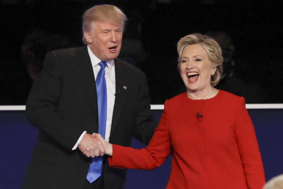 Republican presidential nominee Donald Trump and Democratic presidential nominee Hillary Clinton shake hands after the presidential debate at Hofstra University in Hempstead, N.Y., Sept. 26, 2016. (AP)