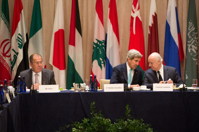 U.S. Secretary of State John Kerry, center, sits with United Nations envoy to Syria, Staffan de Mistura, right, and Russian Foreign Minister Sergey Lavrov during the International Syria Support Group meeting. Sept. 20, 2016, in New York . (AP)