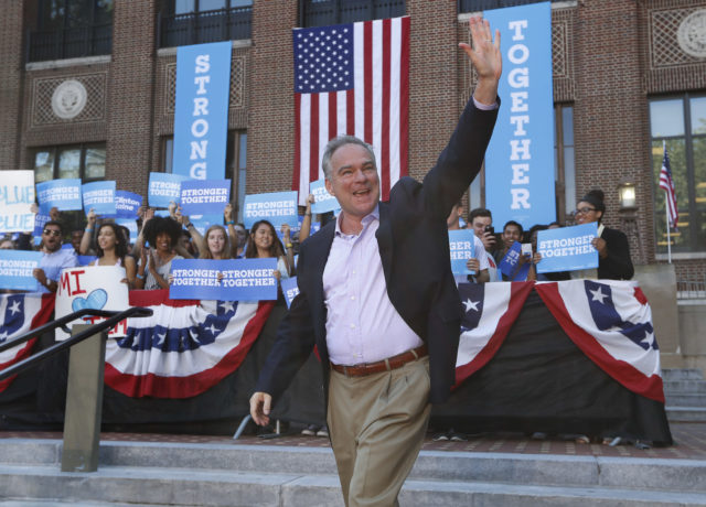 Democratic vice presidential candidate, Sen. Tim Kaine, D-Va. waves as he arrives for a campaign rally at the University of Michigan in Ann Arbor, Mich., Tuesday, Sept. 13, 2016. (AP Photo/Paul Sancya)