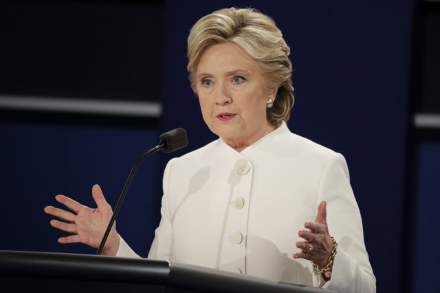 Democratic presidential nominee Hillary Clinton answers a question during the third presidential debate at UNLV in Las Vegas, Oct. 19, 2016. (AP)