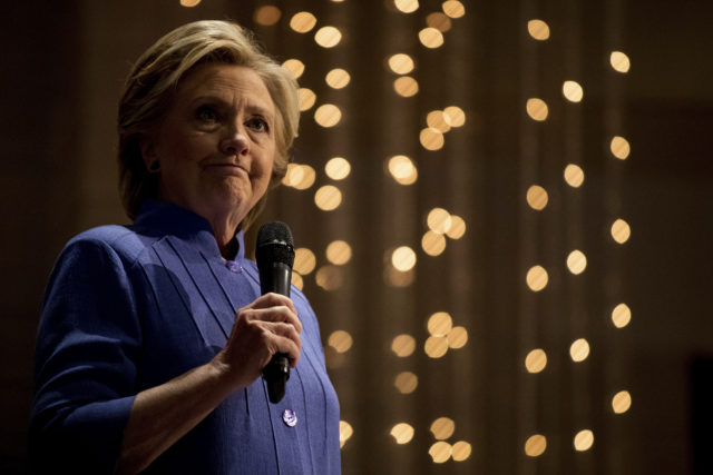 Democratic presidential candidate Hillary Clinton pauses while speaking at New Mount Olive Baptist Church in Fort Lauderdale, Fla. Oct. 30, 2016. (AP)