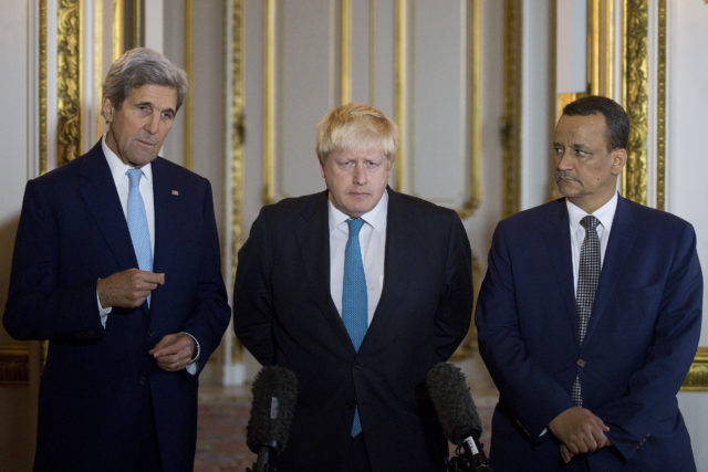 Making a joint statement on Yemen, with left - right, US Secretary of State John Kerry, British Foreign Secretary Boris Johnson and UN Special Envoy for Yemen Ismail Ould Cheikh Ahmed, at Lancaster House in London Sunday Oct. 16, 2016.  The U.S. and Britain expressed hope on Sunday that a cease-fire can be reached in Yemen in the coming days, as a flurry of diplomacy focused on the impoverished, war-torn country. (AP)