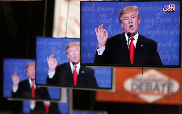 Republican U.S. presidential nominee Donald Trump is shown on TV monitors in the media filing room on the campus of University of Nevada, Las Vegas, during the last 2016 U.S. presidential debate in Las Vegas, U.S., October 19, 2016. (Reuters)
