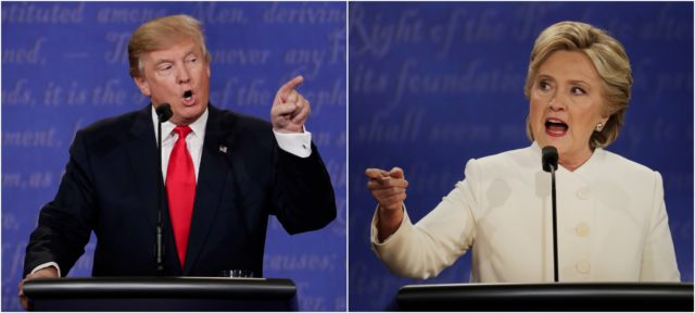 Republican presidential nominee Donald Trump and Democratic presidential nominee Hillary Clinton speak during the third presidential debate at UNLV in Las Vegas, Oct. 19, 2016. (AP)