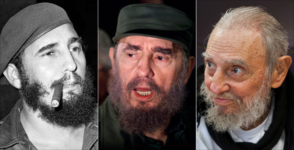 This combo of three file photos shows Fidel Castro, from left; smoking a cigar in Havana, Cuba, April 29, 1961; speaking to the media while on a mission to collect Elian Gonzales in Washington, D.C., April 6, 2000; and at his Havana home on Feb. 13, 2016. (AP)
