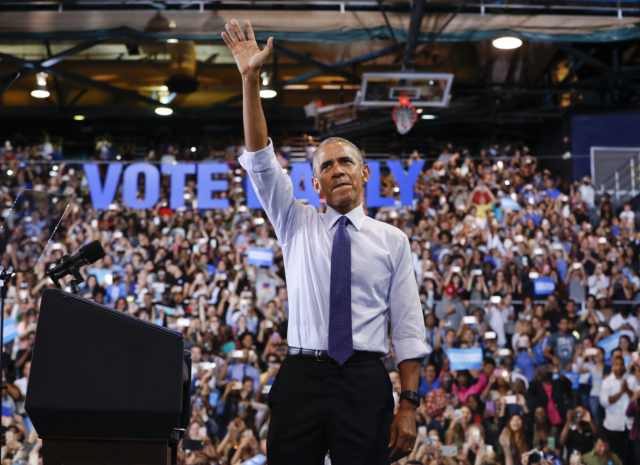 President Barack Obama waves to supporters at Florida International University in Miami, Nov. 3, 2016, during a campaign rally for Democratic presidential candidate Hillary Clinton. (AP)
