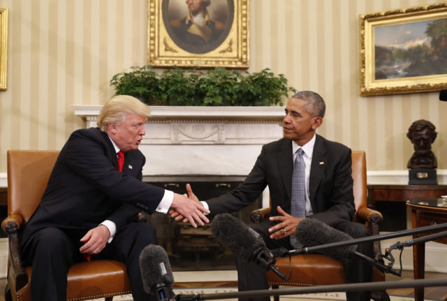 President Barack Obama shakes hands with President-elect Donald Trump in the Oval Office of the White House in Washington, Nov. 10, 2016. (AP)