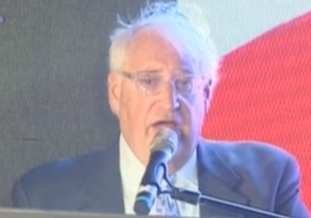 David Friedman, Donald Trump's choice to be U.S. ambassador to Israel, speaks at a pro-Trump rally in Jerusalem Oct. 26, 2016 (screenshot via Reuters)