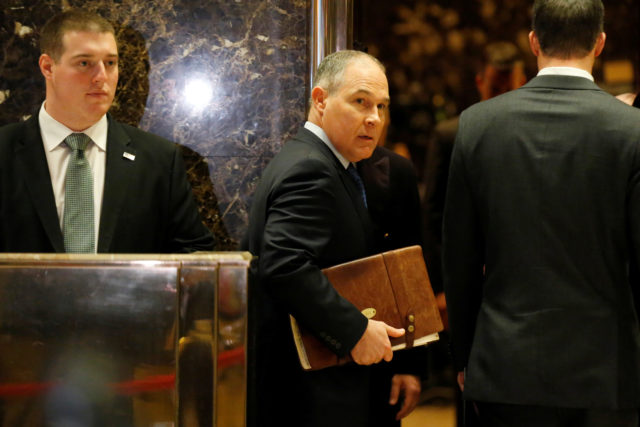 Scott Pruitt Attorney General of Oklahoma arrives to meet with U.S. President-elect Donald Trump at Trump Tower in Manhattan, New York City, U.S., December 7, 2016. Trump announced Pruitt as his choice to head the Environmental Protection Agency. (Reuters)