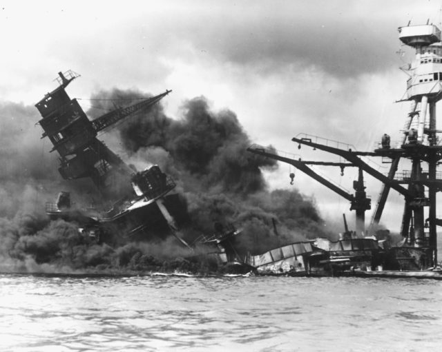 USS Arizona sinks after being hit by a Japanese air attack on Pearl Harbor, Hawaii, Dec. 7, 1941. (U.S. National Archives via Reuters)