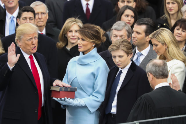 Donald Trump is sworn in as the 45th president of the United States by Chief Justice John Roberts  during the 58th Presidential Inauguration at the U.S. Capitol in Washington,  Jan. 20, 2017. (AP)