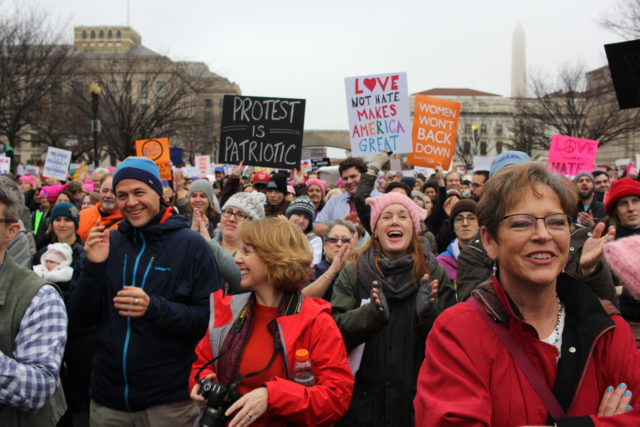 Crowds of people attend a rally before the Women's March, studded with celebrities and lawmakers, in Washington, D.C., Jan. 21, 2017. (VOA)