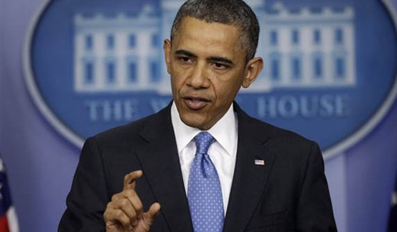President Obama fields question at a White House news conference April 30. Photo: AP